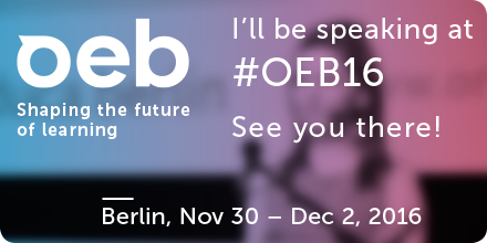 I'll be speaking at Online Educa Berlin OEB16